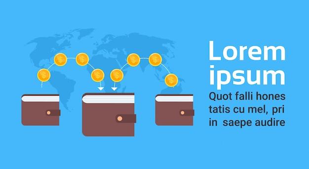 Portefeuille mobile carte du monde numérique carte de commerce et concept de commerce électronique