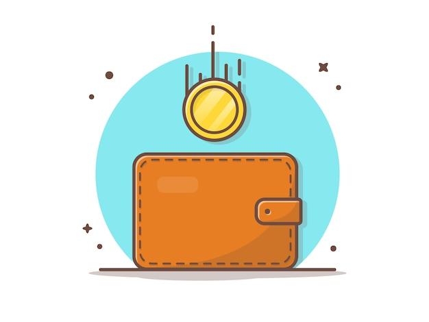 Portefeuille avec des pièces d'or volantes vector icon illustration