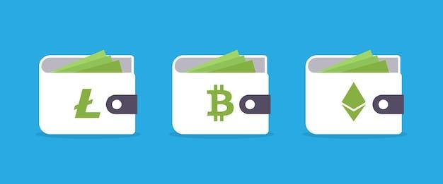 Portefeuilles bitcoin ethereum litecoin cryptocurrency isolés sur fond bleu. illustration vectorielle eps10