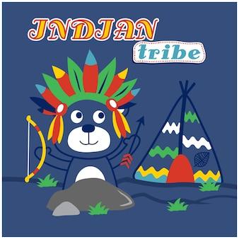 Porter le dessin animé animal drôle de tribu indienne, illustration