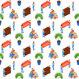 Porters carry furniture seamless pattern