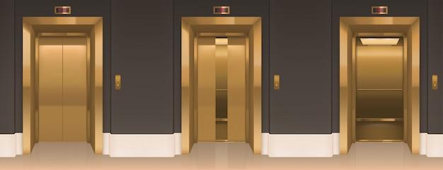 Portes d'ascenseur dorées. couloir de bureau avec cabines d'ascenseur