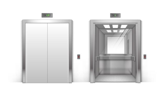 Portes d'ascenseur d'immeuble de bureaux en métal chromé ouvert et fermé réaliste isolé sur fond