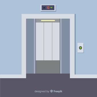 Portes d'ascenseurs ouvertes à plat