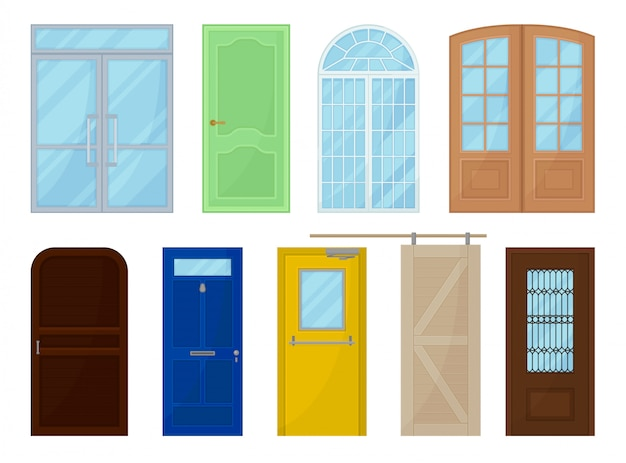 Portes colorées sur fond blanc. illustration.