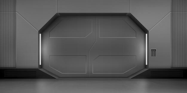 Portes coulissantes en métal dans un vaisseau spatial