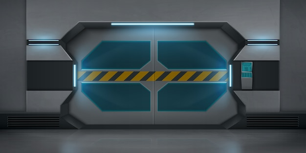 Portes coulissantes métalliques réalistes avec ruban rayé d'avertissement