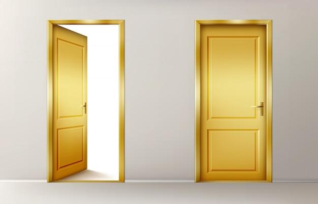 Portes dorées ouvertes et fermées