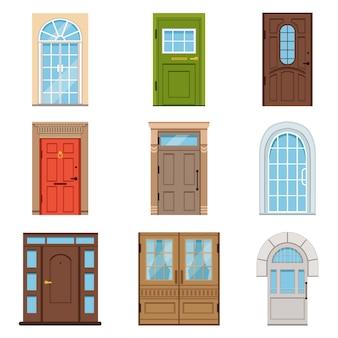 Portes d'entrée colorées.