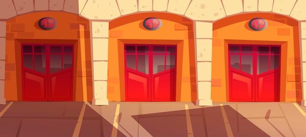 Portes de garage caserne de pompiers avec signalisation, boîte de portes pour camion