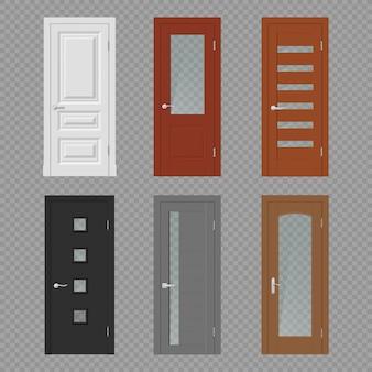 Portes intérieures réalistes sur transparent