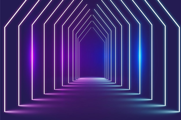 Portes en perspective fond abstrait néons