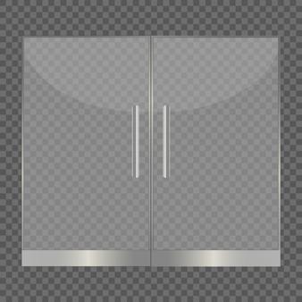 Portes en verre isolés sur fond transparent.