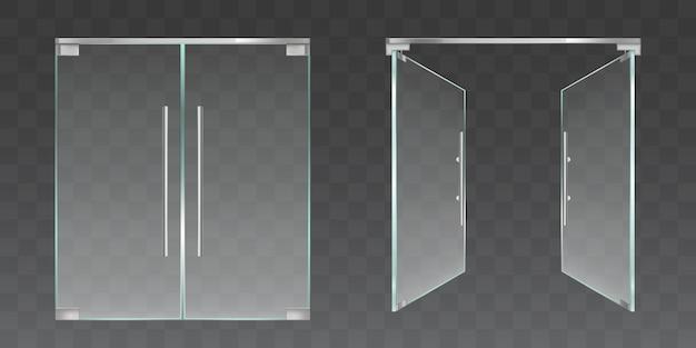 Portes en verre transparent ouvertes et fermées