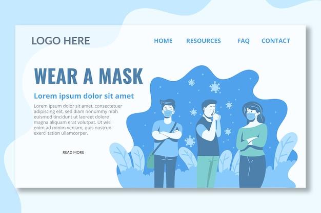 Portez un modèle de page de destination de masque