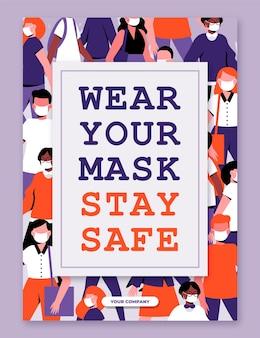 Portez votre modèle d'affiche de masque