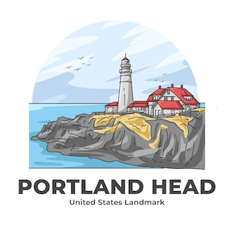 Portland head lighthouse united states landmark illustration de dessin animé minimaliste