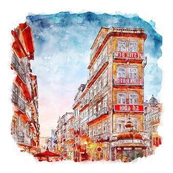 Porto portugal aquarelle croquis dessinés à la main illustration