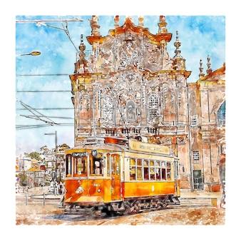 Porto portugal aquarelle croquis illustration dessinée à la main