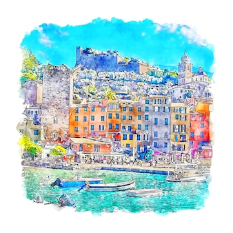 Portovenere italie illustration aquarelle croquis dessinés à la main