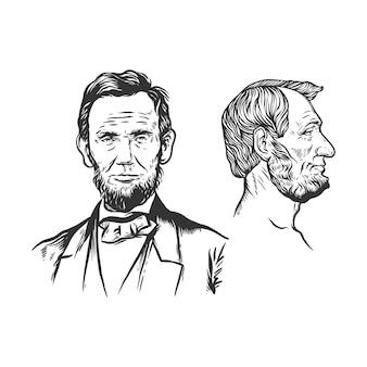 Portrait abraham lincoln dessiné à la main