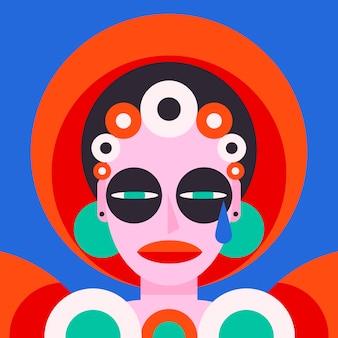 Portrait abstrait design plat dans un style artistique