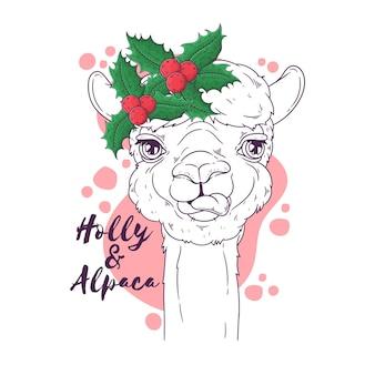 Portrait d'alpaga mignon dans les accessoires de noël