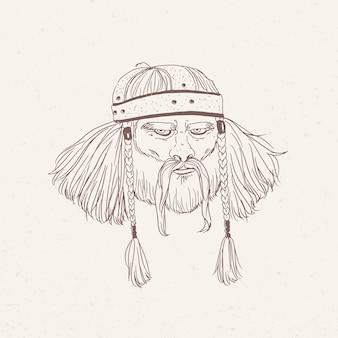 Portrait de l'ancien guerrier avec barbe et tresses dessinés à la main avec des lignes de contour