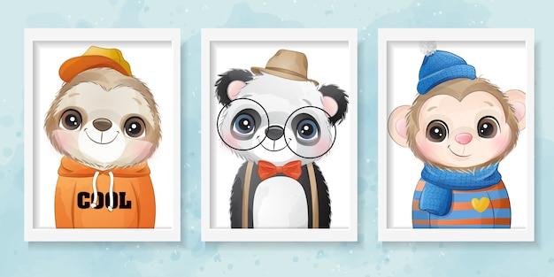 Portrait d'animal cool mignon avec illustration aquarelle