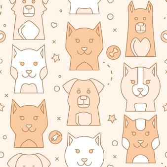 Portrait d'animaux de compagnie avec un design plat