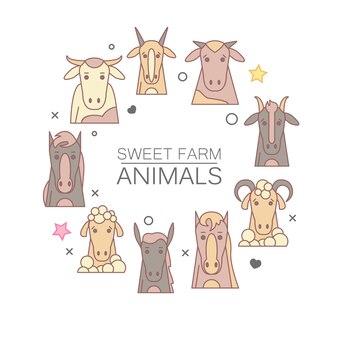 Portrait d'animaux de la ferme avec un design plat