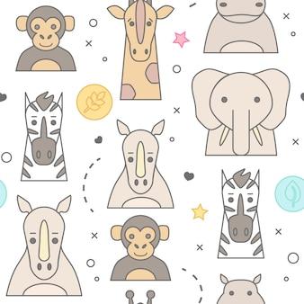 Portrait d'animaux de zoo avec un design plat