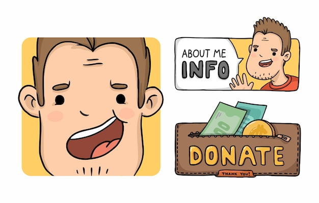 Portrait d'avatar de personnage de dessin animé et faire un don de boutons