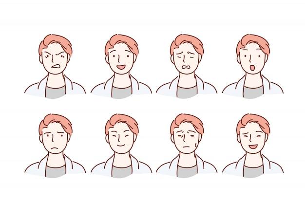 Portrait de beau mec avec différentes expressions faciales définies isolé sur fond.