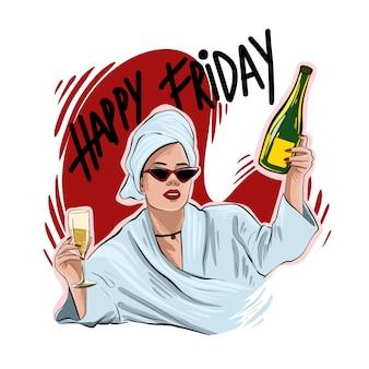 Portrait de belle jeune femme dessin à la main. fille de mode avec une coupe de champagne. femme élégante à lunettes de soleil. esquisser.