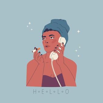 Portrait de la belle jeune femme fille fume et parle au téléphone illustration de mode