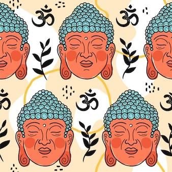 Portrait de bouddha en modèle sans couture de style scandinave. icône d'illustration de personnage de dessin animé de vecteur. pépinière de caractère de visage de bouddha, impression de yoga pour l'affiche, carte, concept de papier peint de modèle sans couture de t-shirt