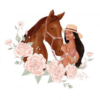 Portrait d'un cheval et d'une fille dans un style aquarelle numérique et un bouquet de roses