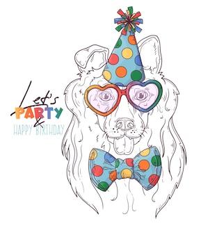 Portrait de chien clown colley dessiné à la main avec accessoires