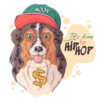 Portrait de chien rappeur collie dessiné à la main avec accessoires
