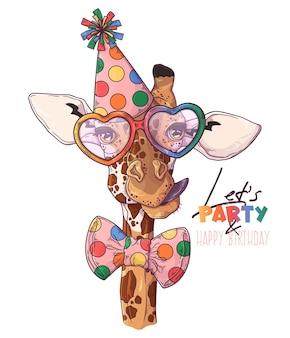 Portrait de clown girafe dessiné à la main avec accessoires