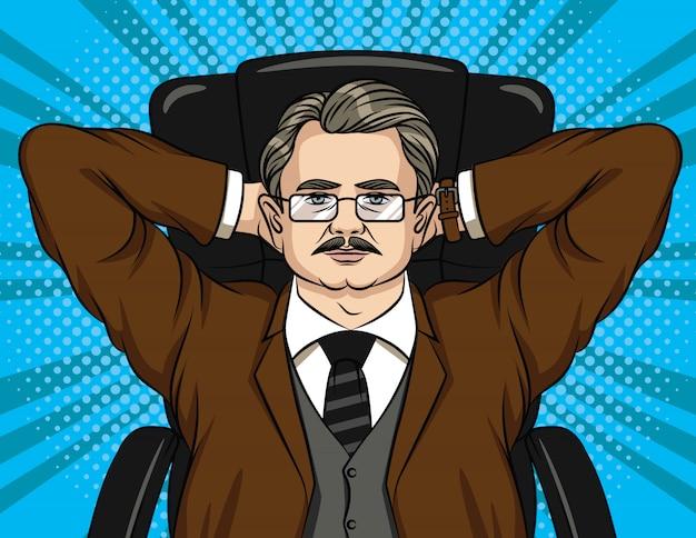 Portrait coloré d'un homme d'affaires dans des verres de détente