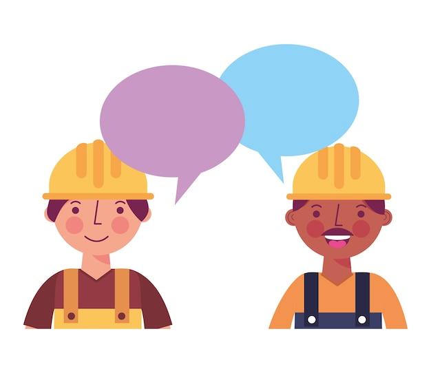 Portrait de construction des travailleurs bulle de dialogue parlant