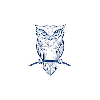 Portrait de couleur bleu art ligne hibou