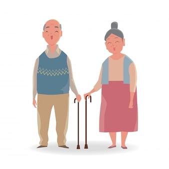 Portrait de couple de personnes âgées avec une canne qui marche souriant isolé sur fond blanc.