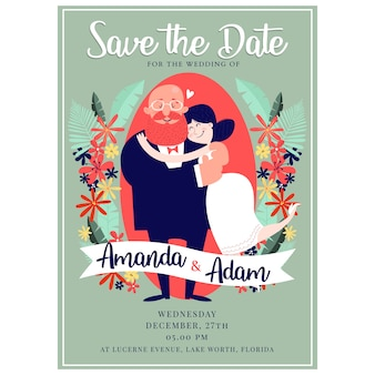 Portrait de couple save the date template