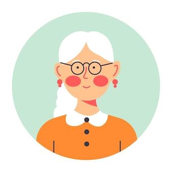 Portrait d'une dame âgée, grand-mère isolée portant des boucles d'oreilles modestes et des cours pour la vue. personnage féminin sympathique, bannière de cercle. personnage pensif, femme aux cheveux gris, vecteur à plat