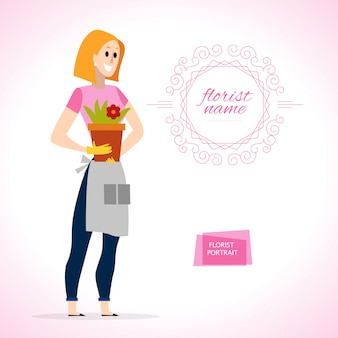 Portrait de dame jardinière en tablier. style.