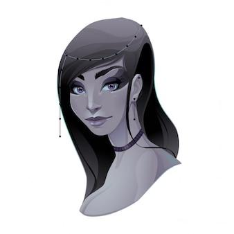 Portrait d'une dame vecteur élément isolé