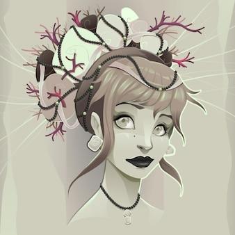 Portrait d'une dame vector illustration